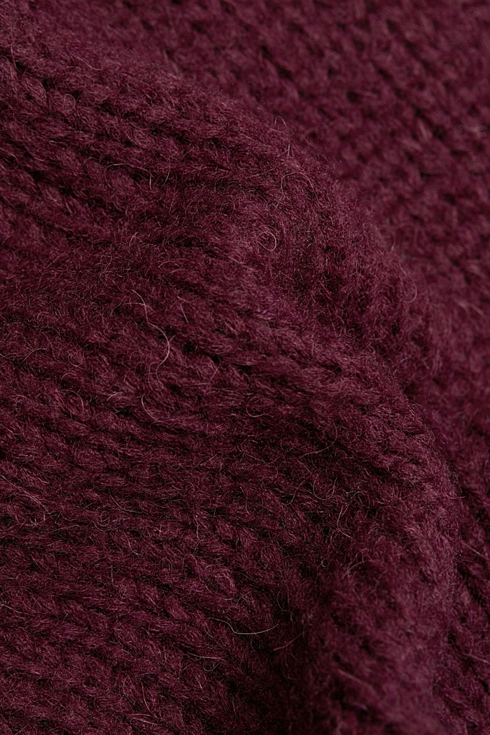 Alpaca/wool blend: open cardigan, AUBERGINE, detail image number 4