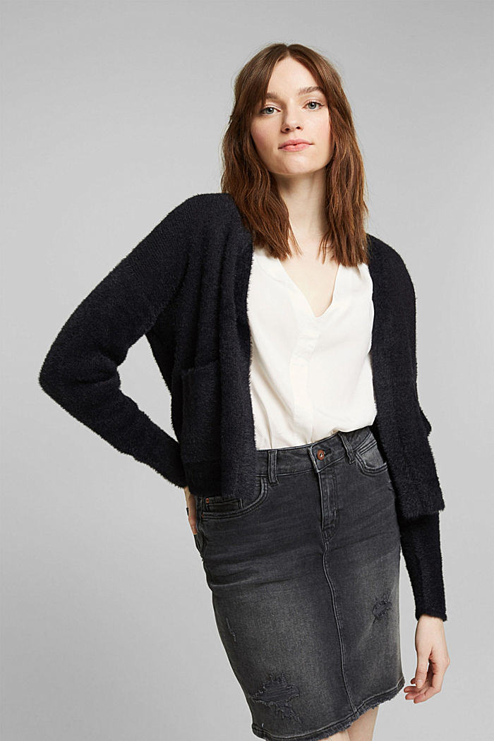 Cardigan with organic cotton, BLACK, detail image number 0