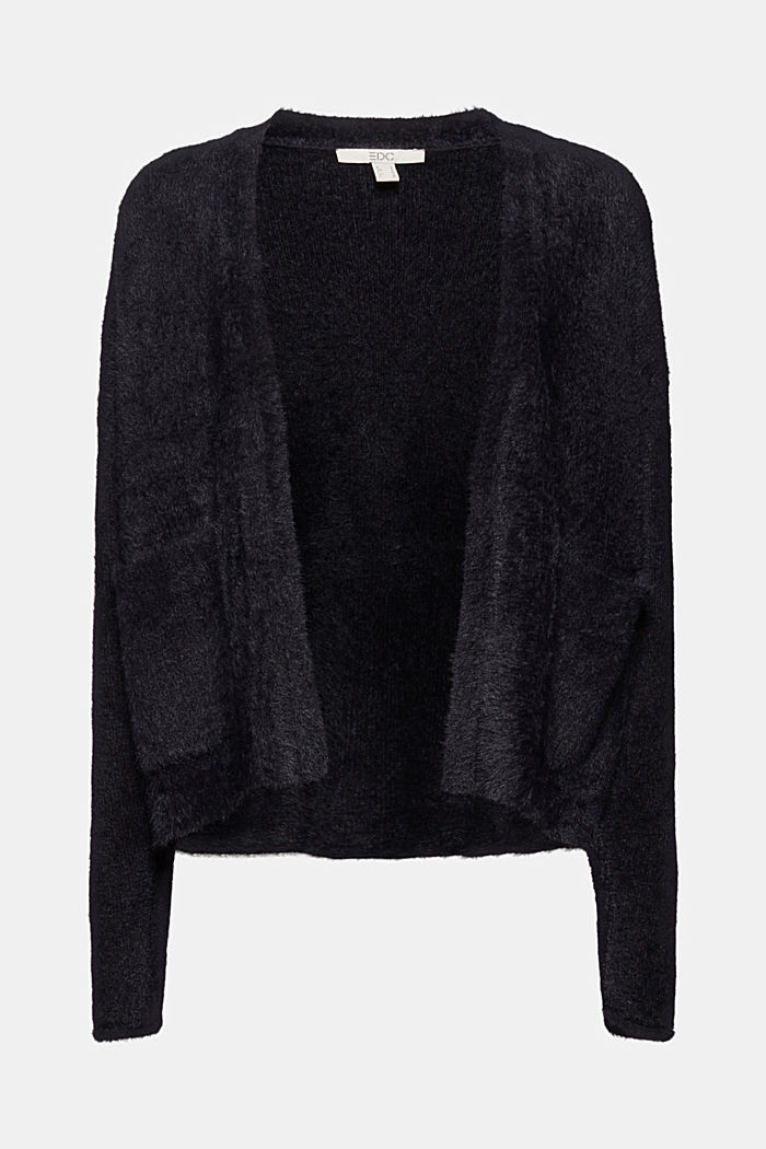 Cardigan with organic cotton, BLACK, overview