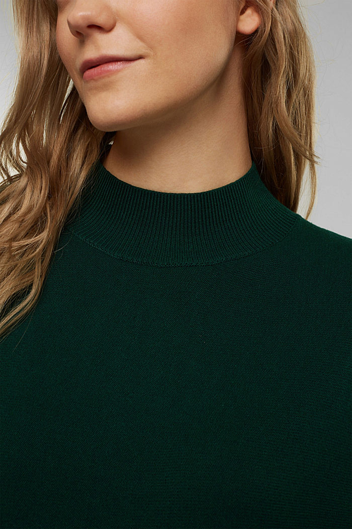 Jumper with organic cotton, BOTTLE GREEN, detail image number 2