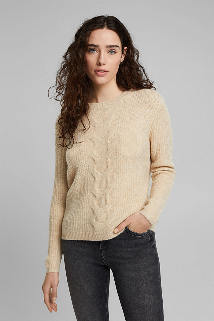 Cable knit jumper with wool, CREAM BEIGE, detail image number 0