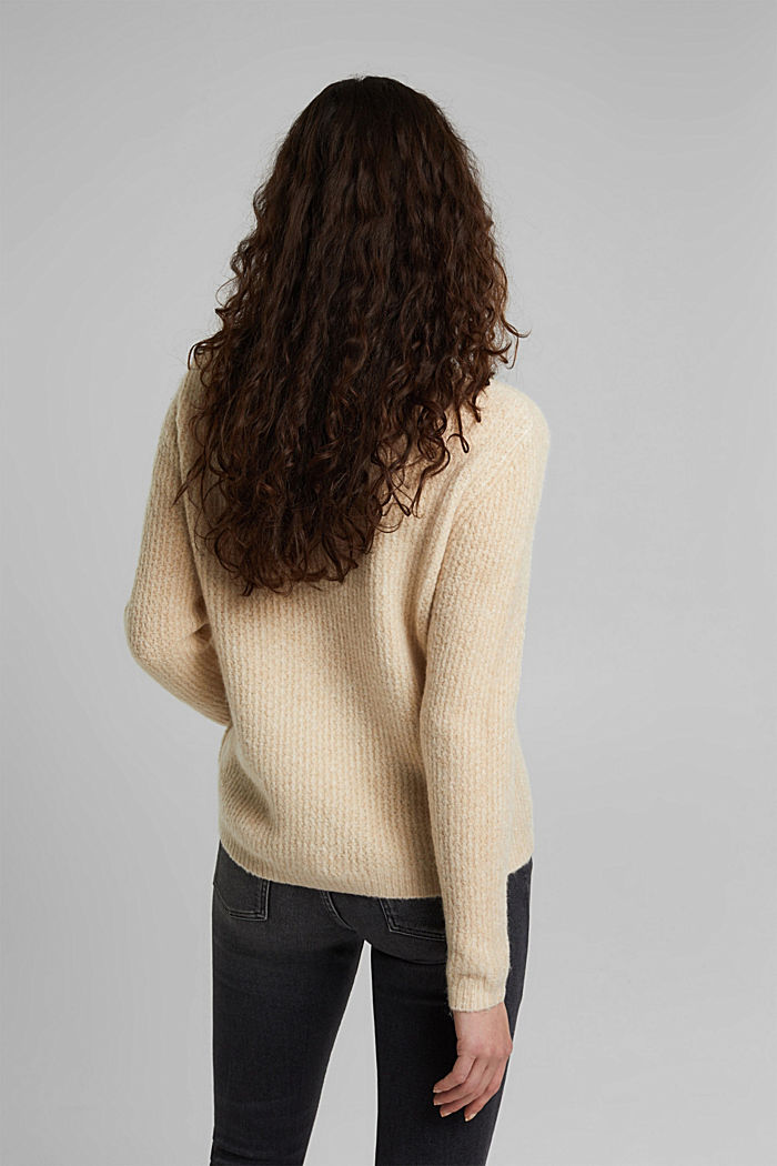 Cable knit jumper with wool, CREAM BEIGE, detail image number 3