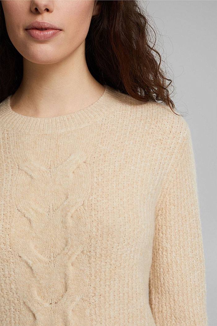 Cable knit jumper with wool, CREAM BEIGE, detail image number 2