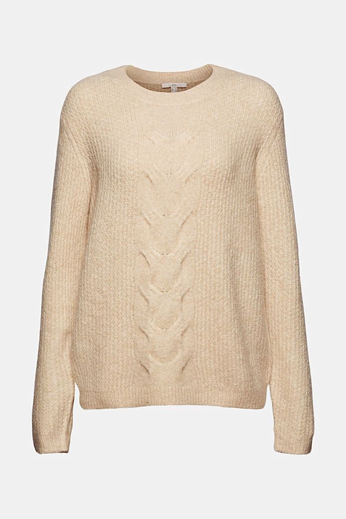 Cable knit jumper with wool, CREAM BEIGE, overview