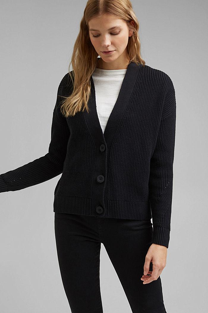 Cardigan made of 100% organic cotton, BLACK, detail image number 0