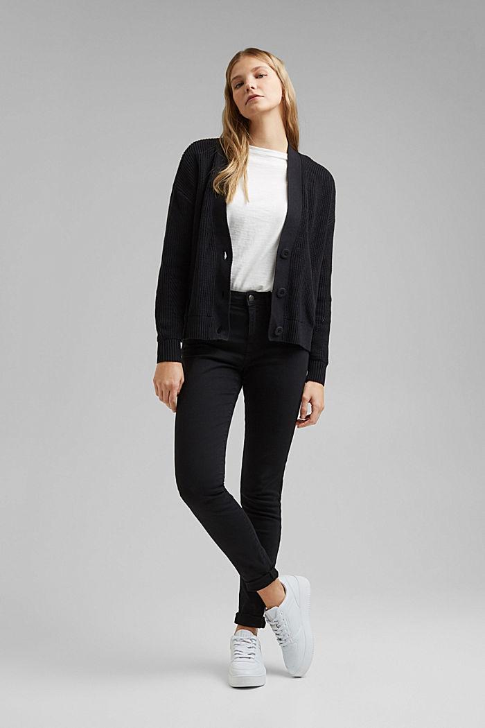 Cardigan made of 100% organic cotton, BLACK, detail image number 1