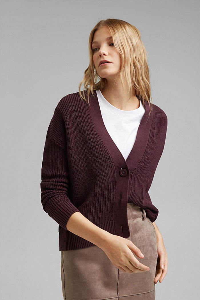 Cardigan made of 100% organic cotton, AUBERGINE, detail image number 0