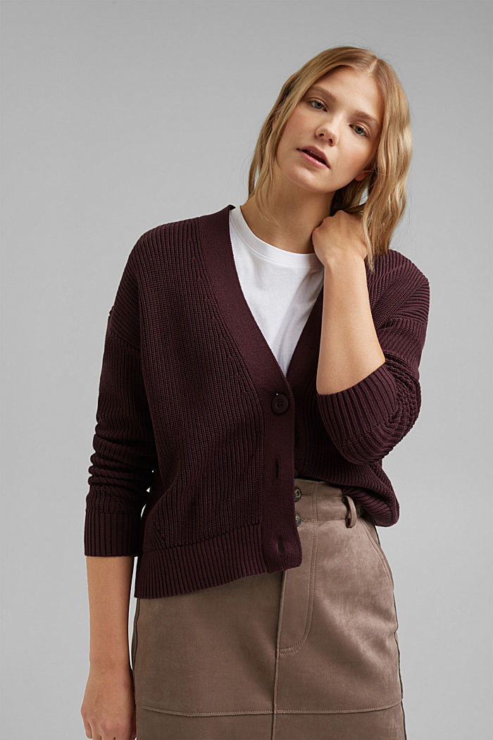 Cardigan made of 100% organic cotton, AUBERGINE, detail image number 5