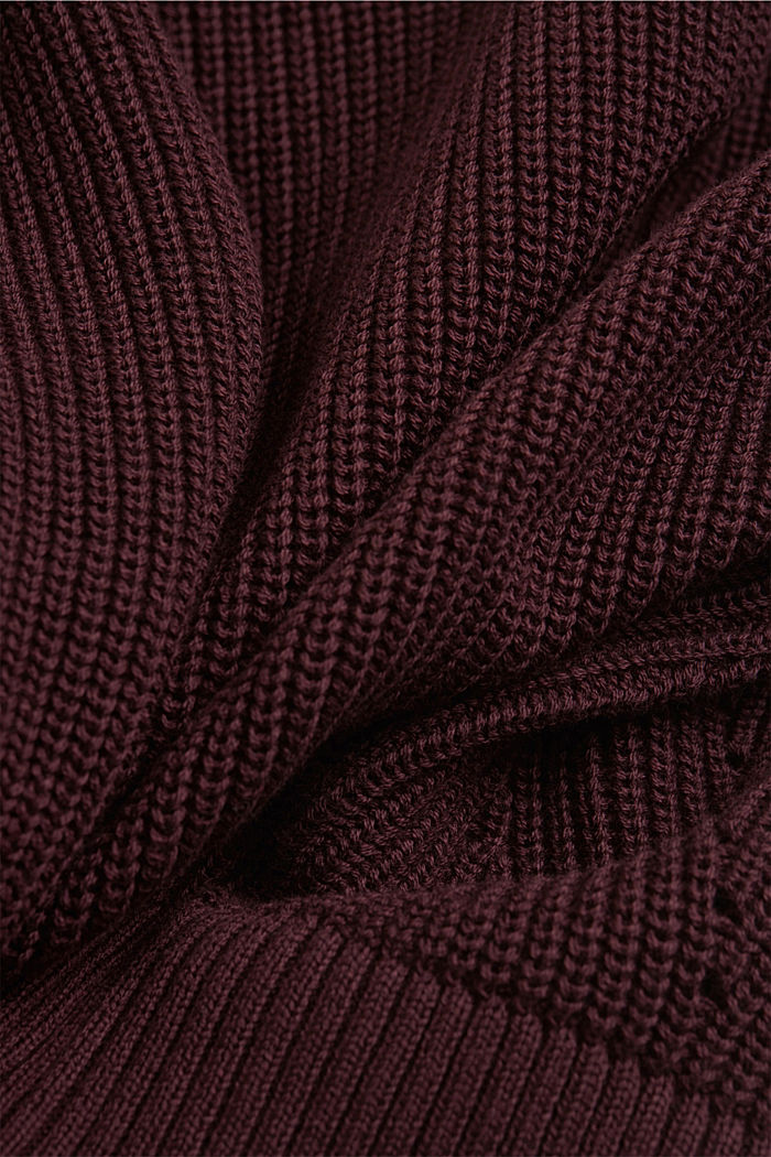 Cardigan made of 100% organic cotton, AUBERGINE, detail image number 4