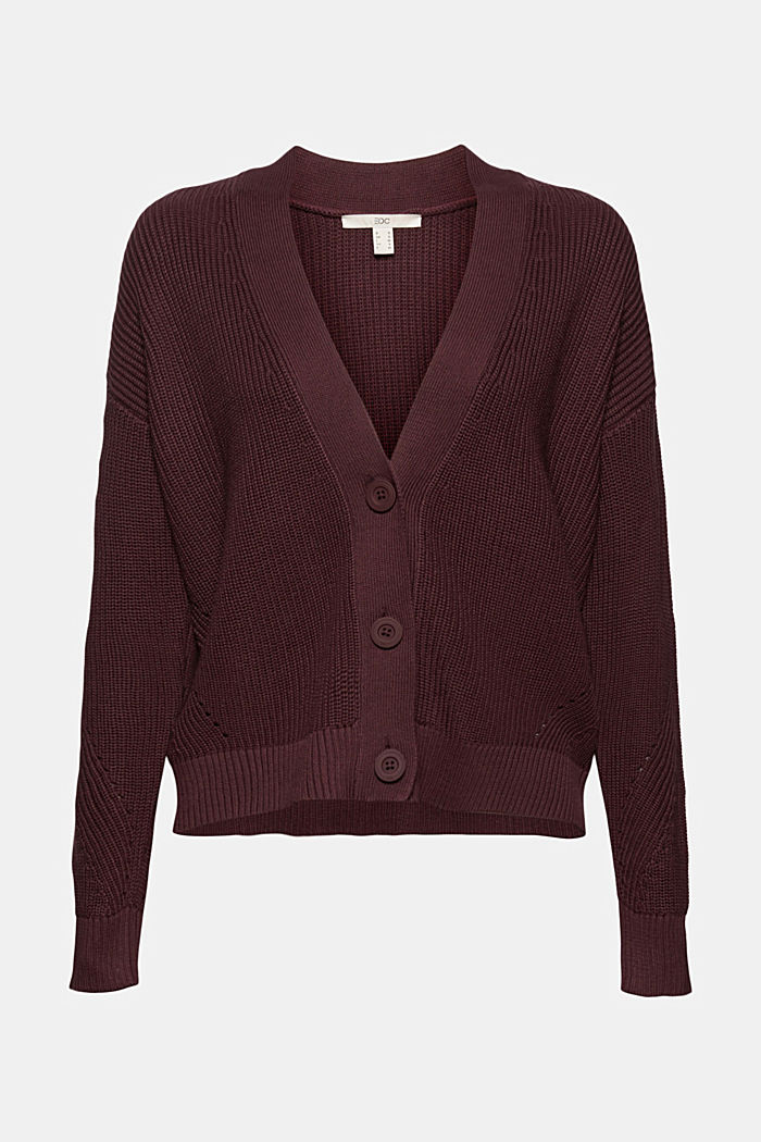 Cardigan made of 100% organic cotton, AUBERGINE, detail image number 6