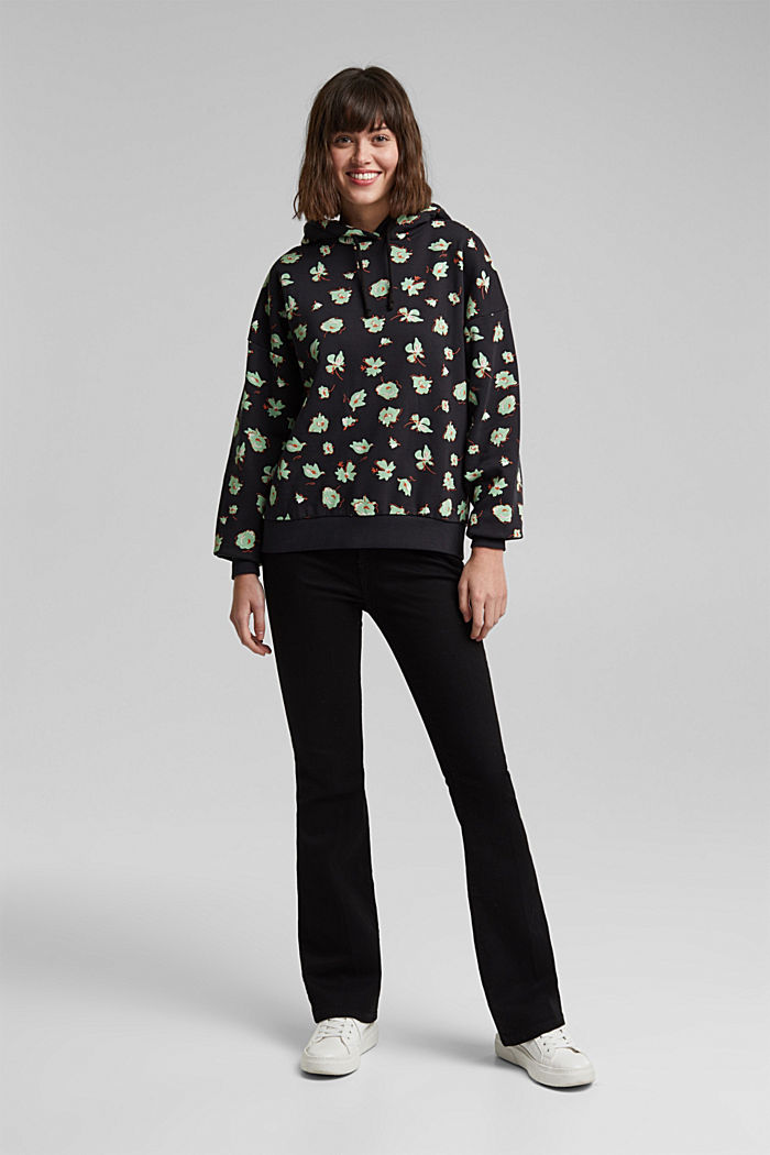 Print hoodie with organic cotton, BLACK, detail image number 1