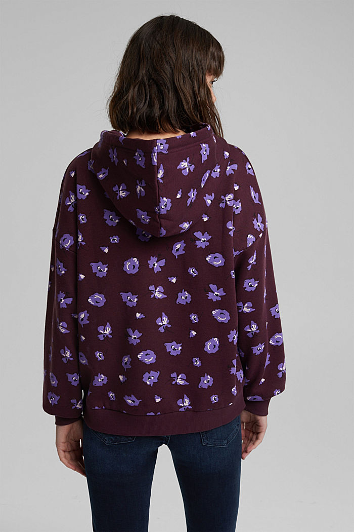 Print hoodie with organic cotton, AUBERGINE, detail image number 3