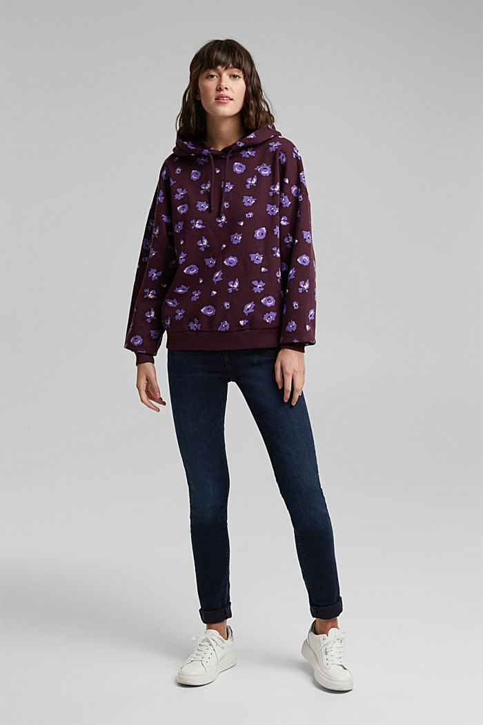 Print hoodie with organic cotton, AUBERGINE, detail image number 1