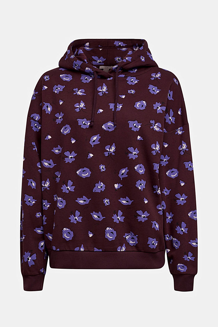 Print hoodie with organic cotton, AUBERGINE, detail image number 5