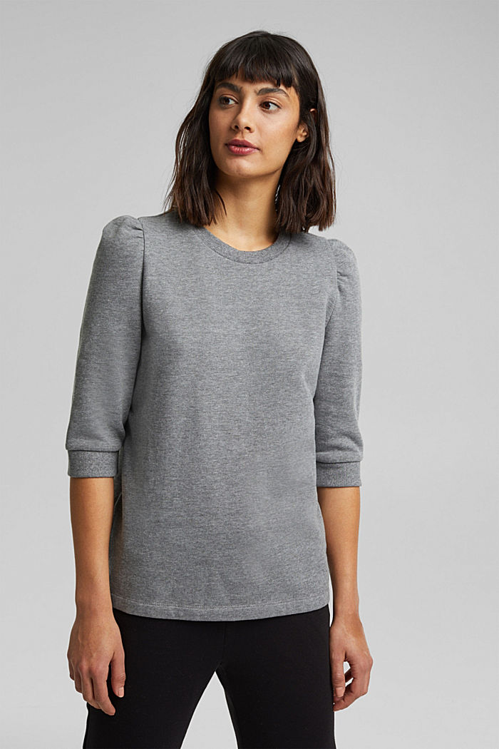 Organic cotton sweatshirt, GUNMETAL, overview