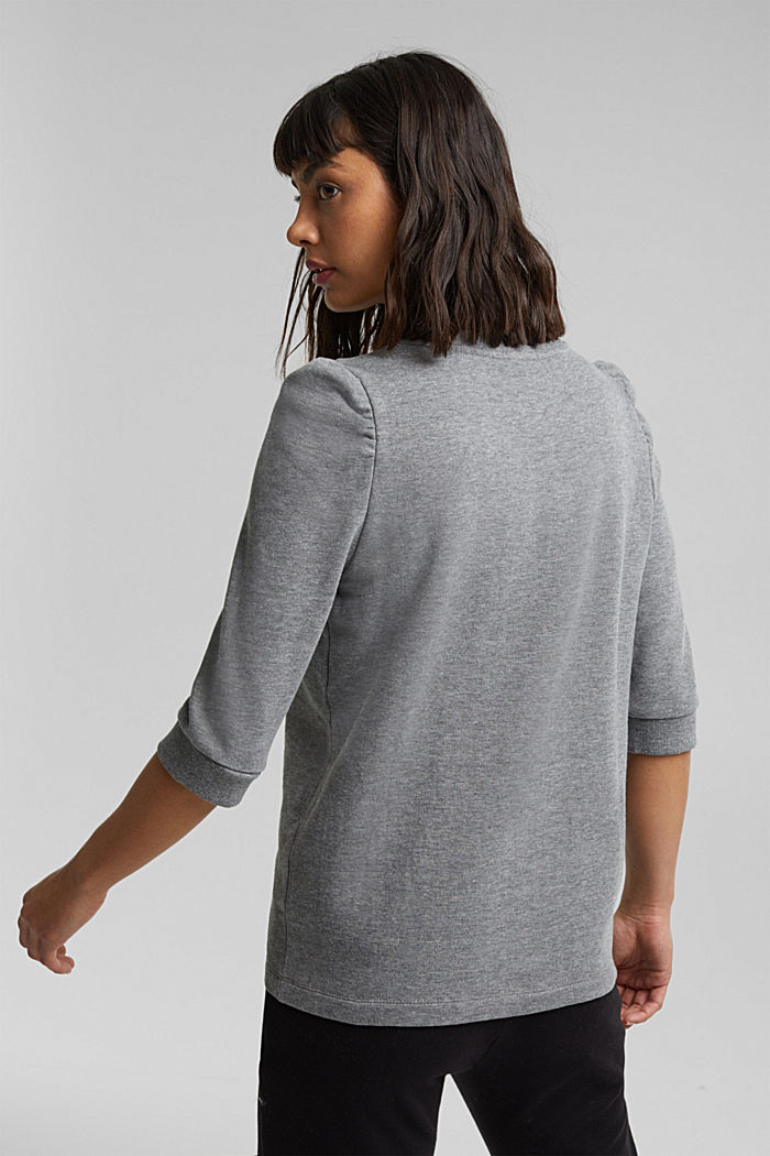 Organic cotton sweatshirt, GUNMETAL, detail image number 3