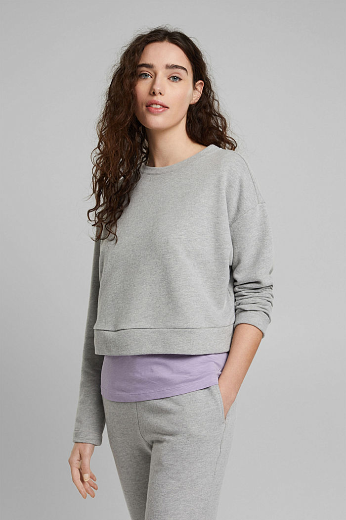 Cropped sweatshirt with organic cotton, LIGHT GREY, detail image number 0