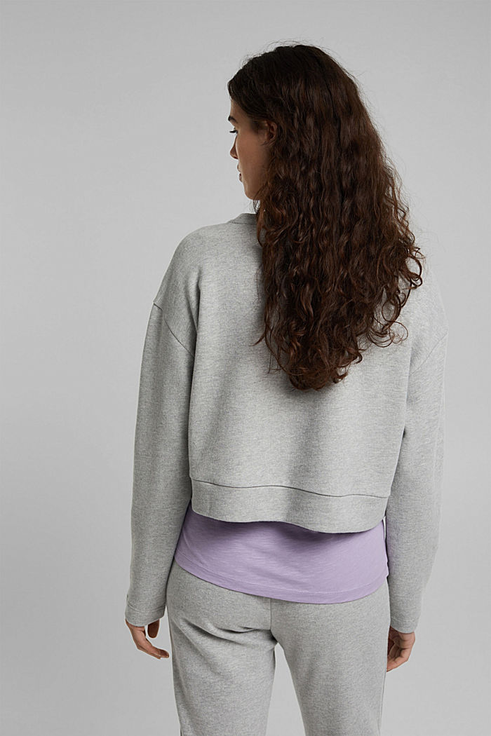 Cropped sweatshirt with organic cotton, LIGHT GREY, detail image number 3