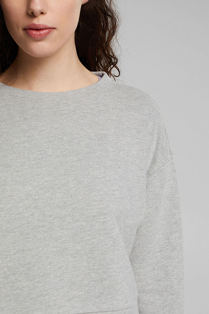 Cropped sweatshirt with organic cotton, LIGHT GREY, detail image number 2