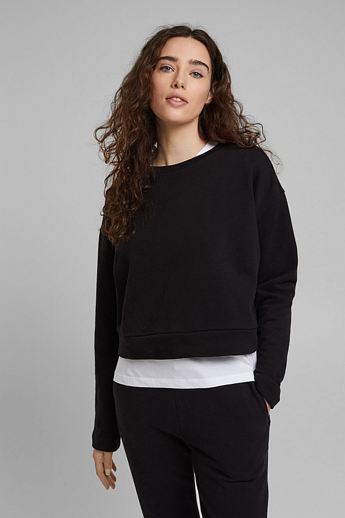 Cropped sweatshirt made of 100% organic cotton, BLACK, detail image number 0