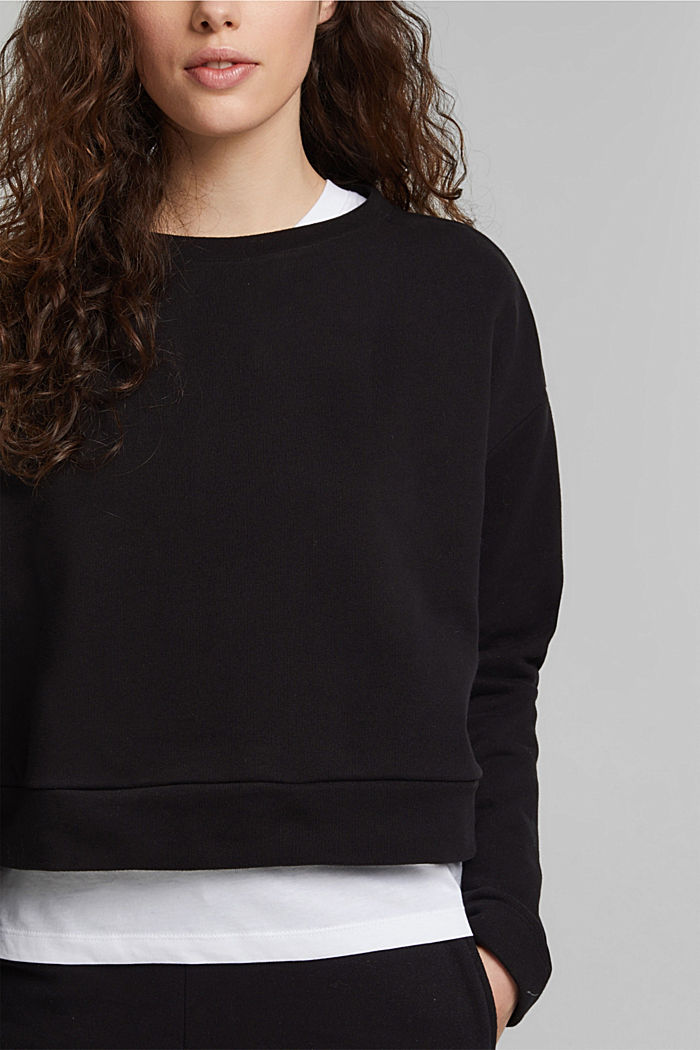 Cropped sweatshirt made of 100% organic cotton, BLACK, detail image number 2