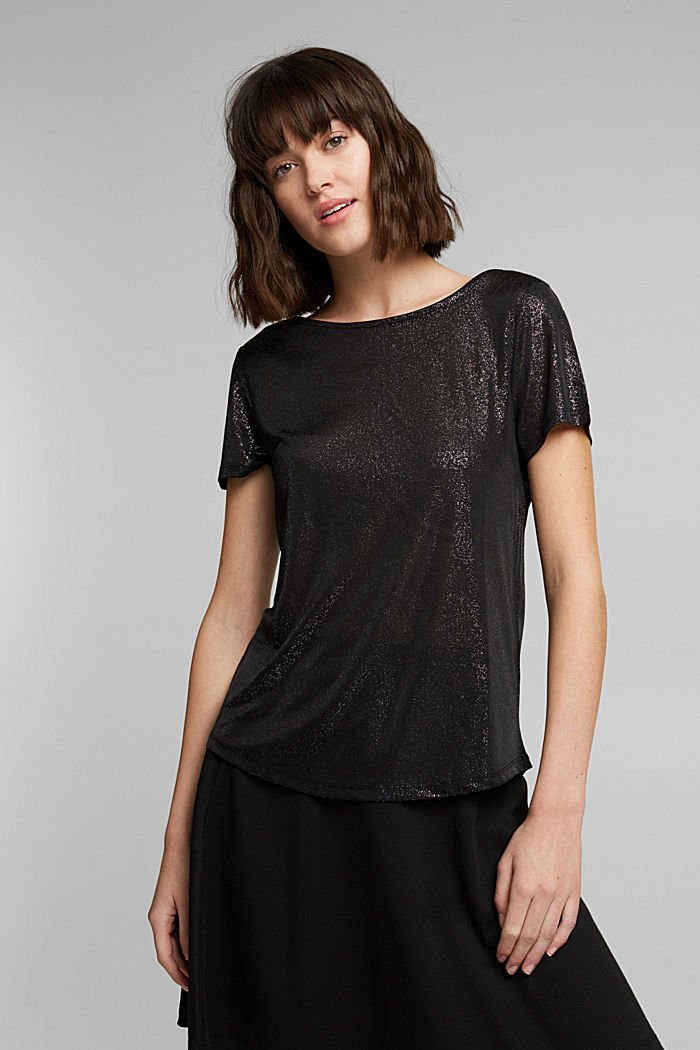 T-shirt with glitter and a low back neckline, BLACK, detail image number 5