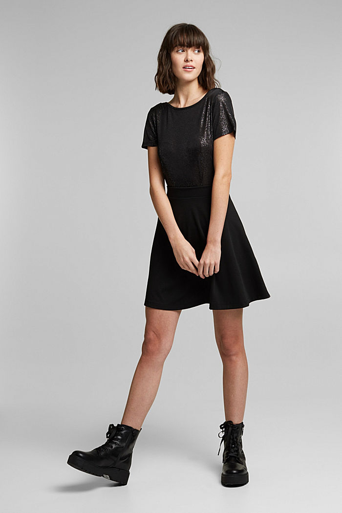 T-shirt with glitter and a low back neckline, BLACK, detail image number 1