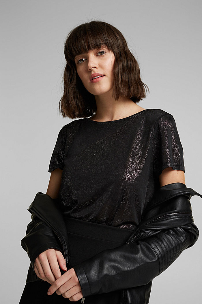 T-shirt with glitter and a low back neckline, BLACK, detail image number 6