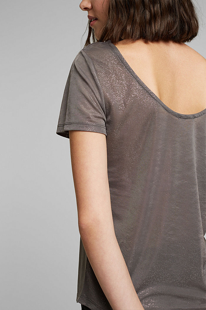 T-shirt with glitter and a low back neckline, GUNMETAL, detail image number 2