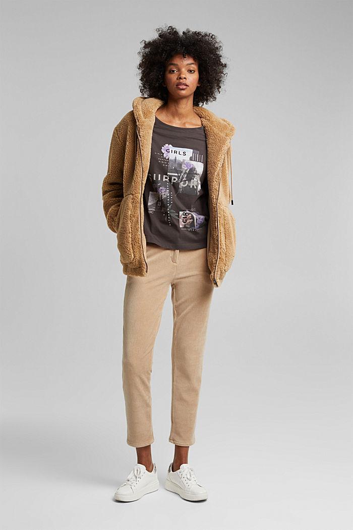 Long sleeve top made of 100% organic cotton, GUNMETAL, detail image number 1