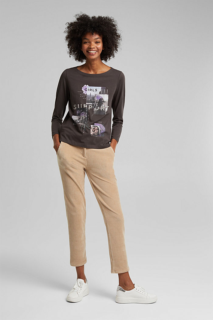 Long sleeve top made of 100% organic cotton, GUNMETAL, detail image number 8
