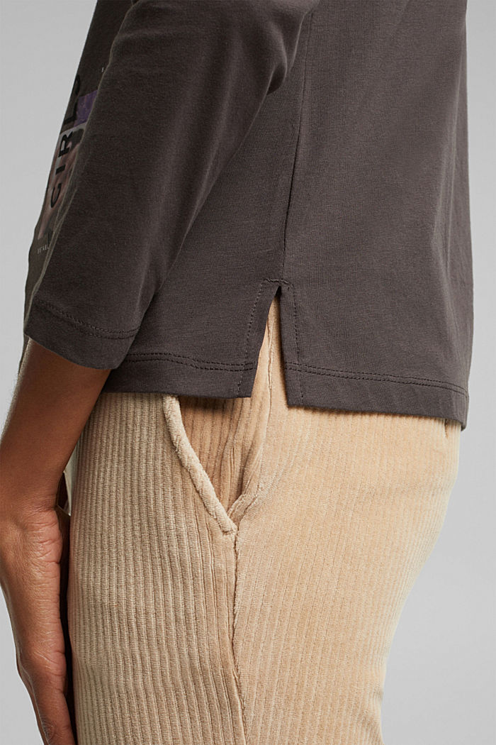 Long sleeve top made of 100% organic cotton, GUNMETAL, detail image number 5