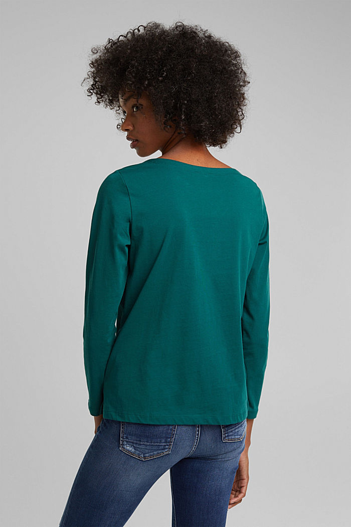 Long sleeve top made of 100% organic cotton, DARK TEAL GREEN, detail image number 3