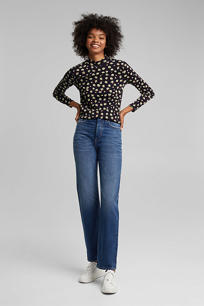 Long sleeve top made of 100% organic cotton, NAVY, detail image number 1