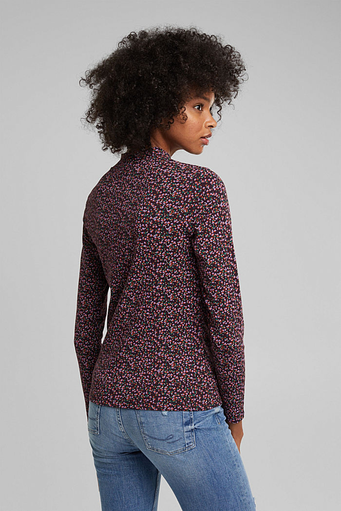 Long sleeve top made of 100% organic cotton, AUBERGINE, detail image number 3