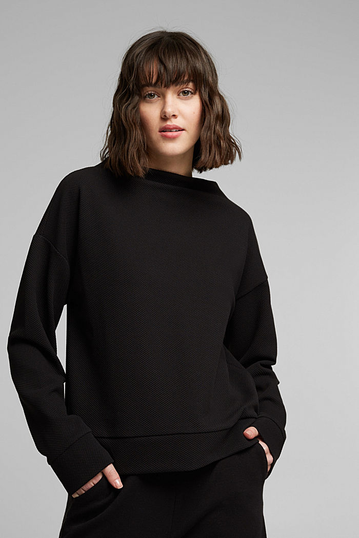 Textured long sleeve top with organic cotton, BLACK, detail image number 0