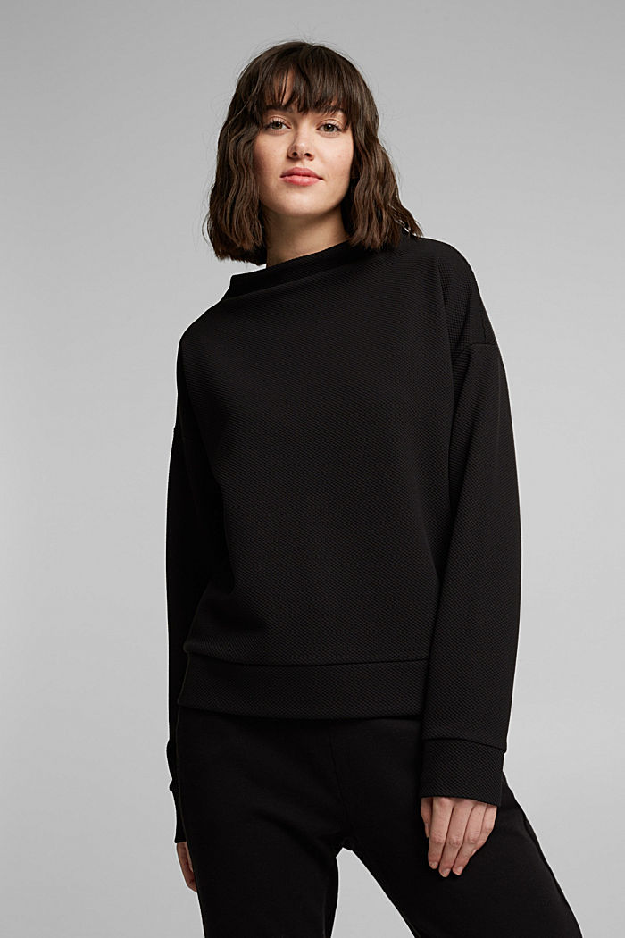 Textured long sleeve top with organic cotton, BLACK, detail image number 5