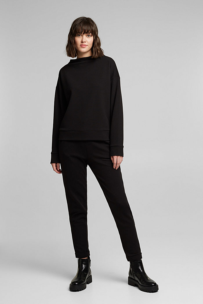 Textured long sleeve top with organic cotton, BLACK, detail image number 1