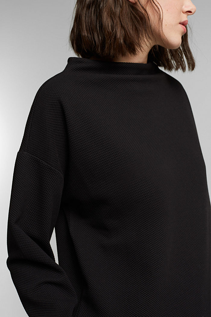 Textured long sleeve top with organic cotton, BLACK, detail image number 2