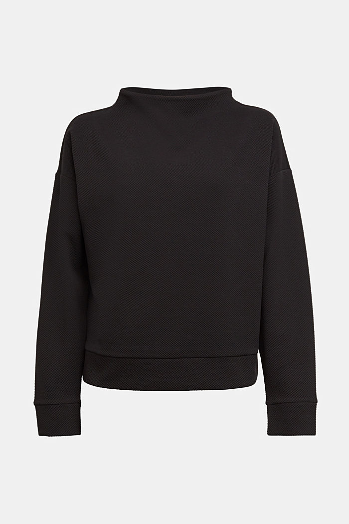 Textured long sleeve top with organic cotton, BLACK, detail image number 6