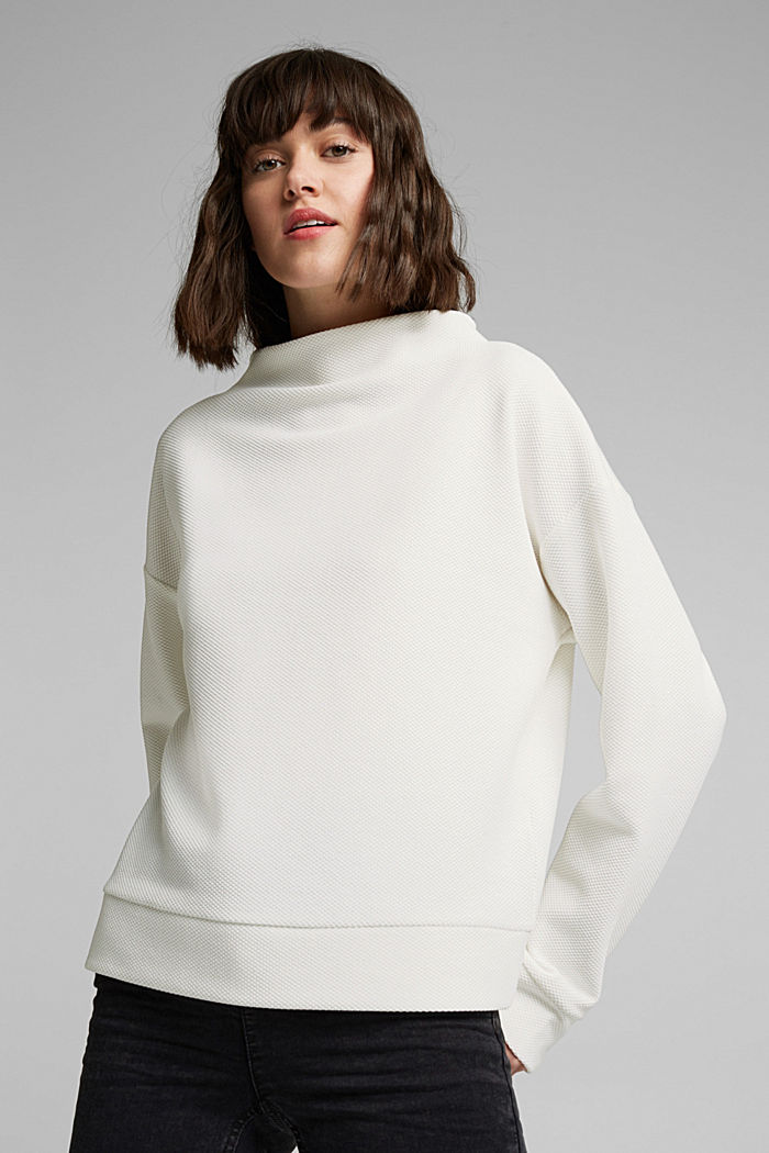 Textured long sleeve top with organic cotton