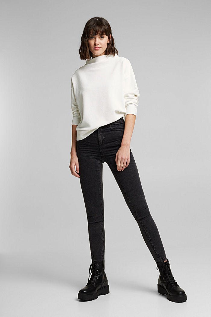 Textured long sleeve top with organic cotton, OFF WHITE, detail image number 1
