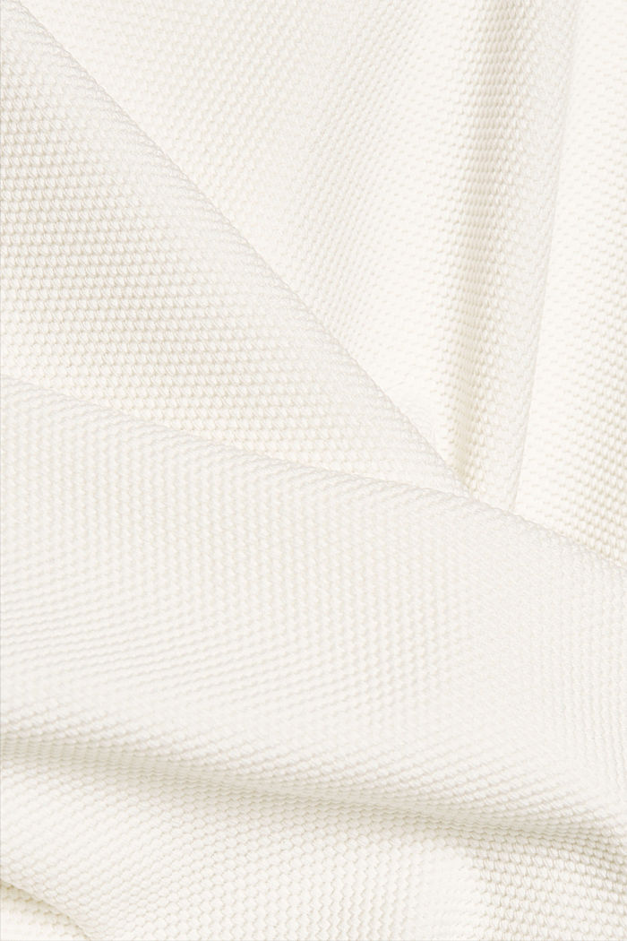 Textured long sleeve top with organic cotton, OFF WHITE, detail image number 4