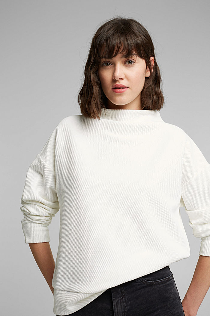 Textured long sleeve top with organic cotton, OFF WHITE, detail image number 6