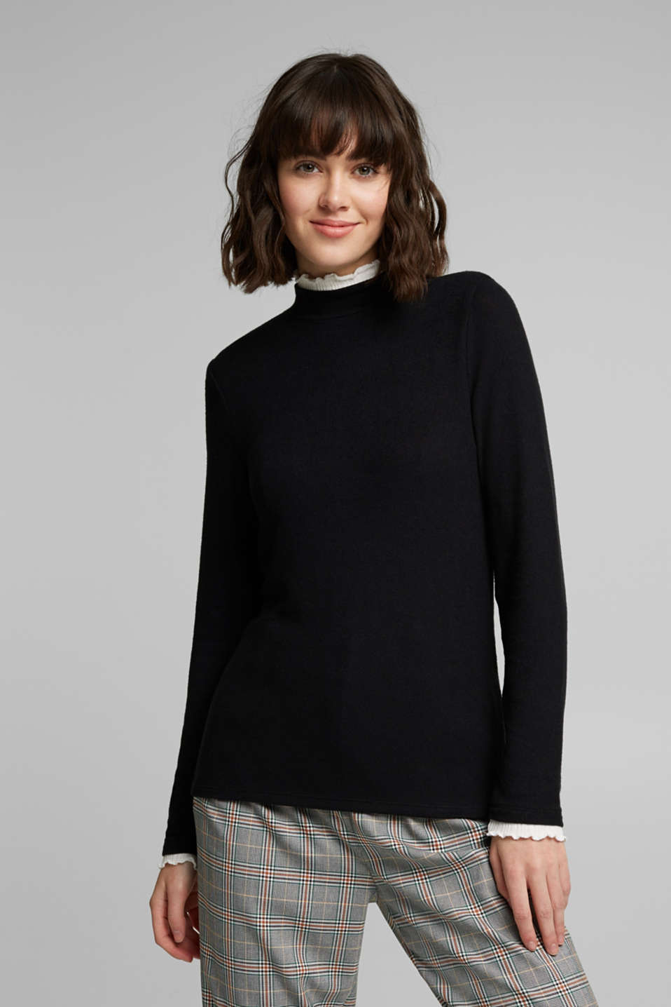 edc - Aus TENCEL™: Longsleeve im Layer-Look