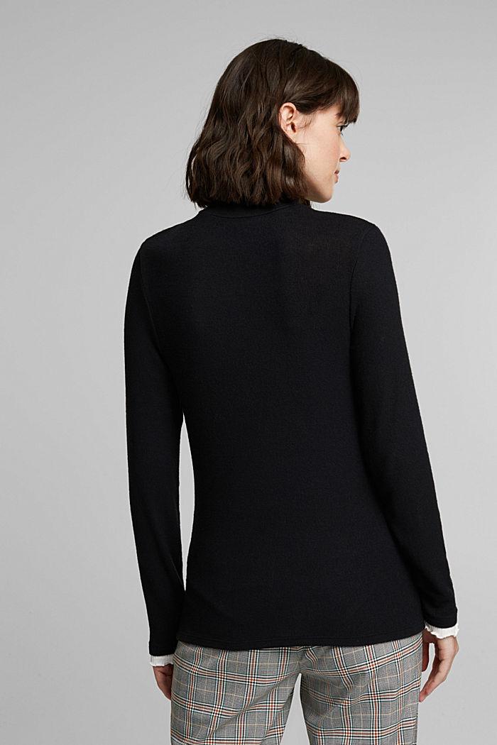 Made of TENCEL™: Mock layer long sleeve top, BLACK, detail image number 3