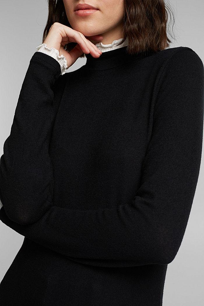 Made of TENCEL™: Mock layer long sleeve top, BLACK, detail image number 2