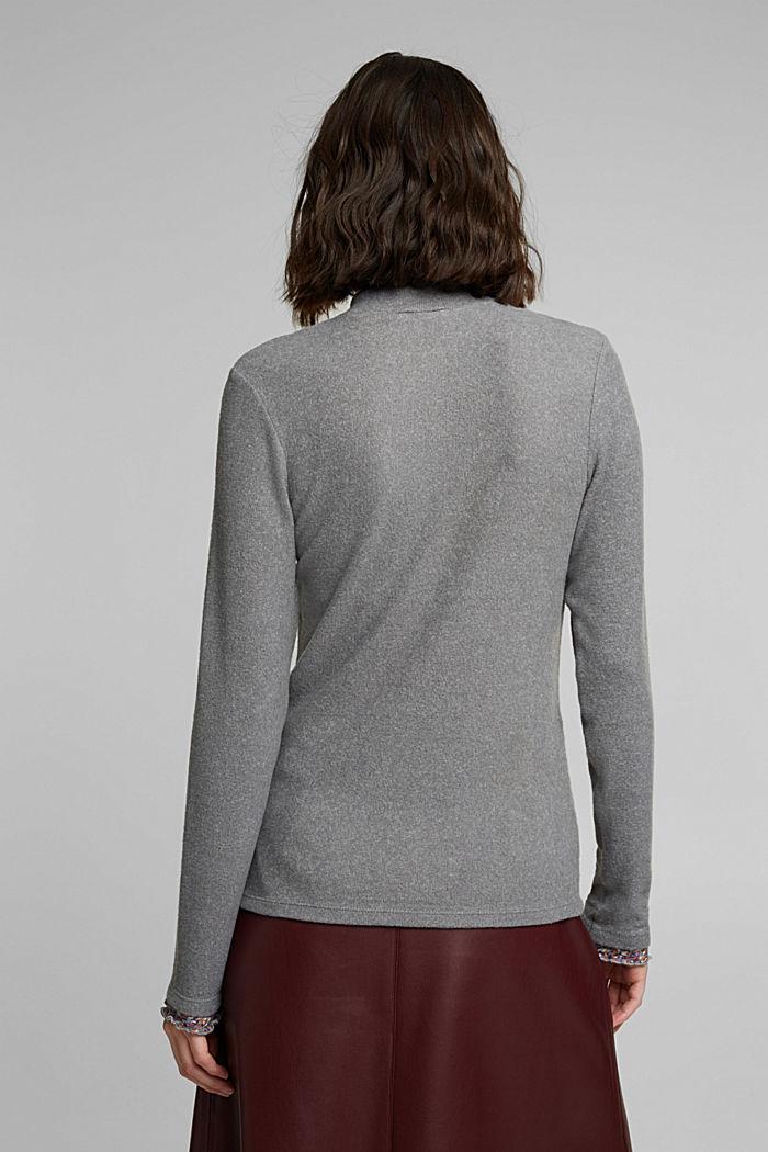 Made of TENCEL™: Mock layer long sleeve top, GUNMETAL, detail image number 3