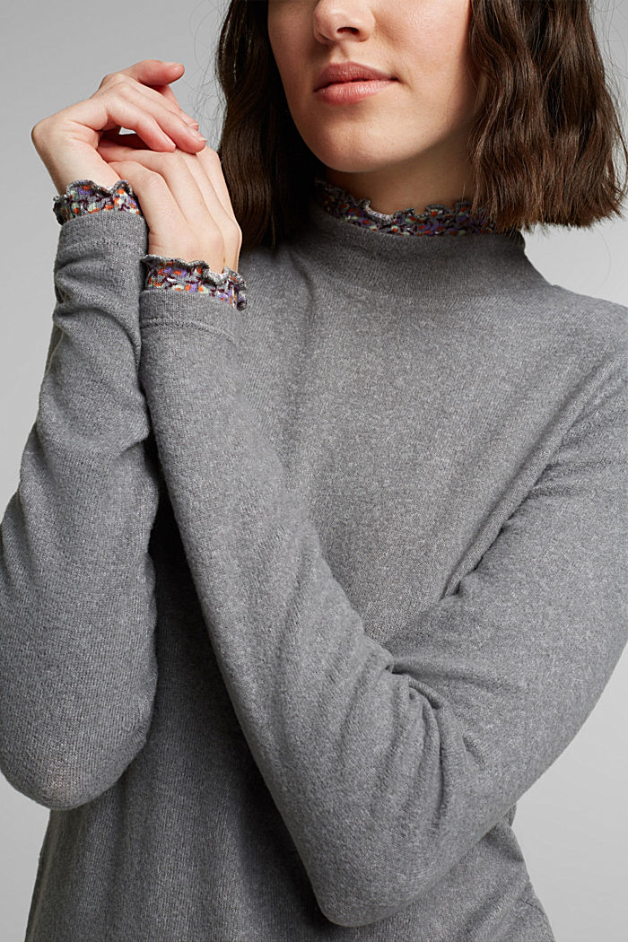 Made of TENCEL™: Mock layer long sleeve top, GUNMETAL, detail image number 2