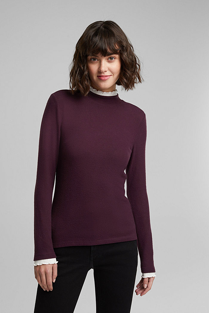 Made of TENCEL™: Mock layer long sleeve top, AUBERGINE, detail image number 0